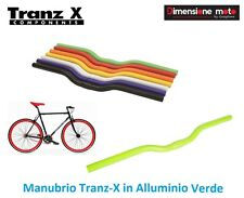 58VK - Manubrio Curvo Tranz-X in Alluminio Verde per Bici 26-28 Trekking Strada