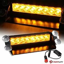 8 LED Amber Light Emergency Car Vehicle Warning Strobe Flashing Yellow