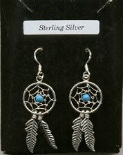 Small Turquoise Dreamcatcher Sterling Silver 925 Drop Earrings Organza Gift Bag