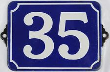Large old blue French house number 35 door gate plate plaque enamel metal sign