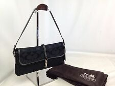 Auth Coach Signature Handbag Shoulder Bag Black Canvas 7E160110S