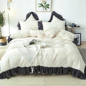 Princess Warm Flannel Velvet Fleece Ruffles Duvet Cover Bed Skirt Pillowcase