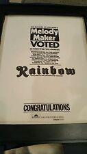 Rainbow Rare Original Melody Maker Awards 1980 Promo Poster Ad Framed!