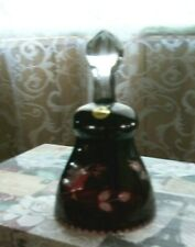 Vintage Dinner Bell Glass Cut To Clear Ruby Red Etched Crystal Poland 6 in.