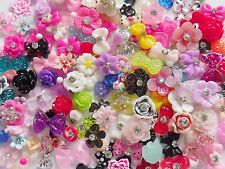 "50 pieces x 3D Acrylic Nail Art ""Flowers & Bows"" Accessories Mix Craft Cabochons"