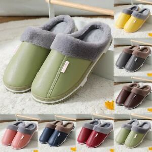 Cozy Shoes House Indoor Mens Outdoor PU Slippers Warm Winter Brand New