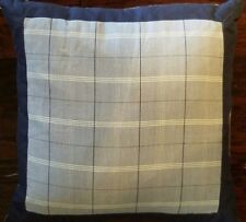 NEW NAUTICA SHELTER ISLAND NAVY BLUE PLAID SQUARE  ACCENT  PILLOW