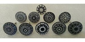 Door Knobs Black Grey Gray Vintage Flower Ceramic Handle Cabinet Drawer 10 Piece