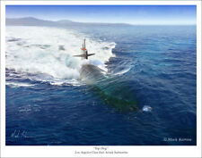 "Los Angeles Class Fast Attack Submarine Naval Art Print 11"" x 14"""