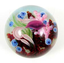 Lundberg Art Glass Paperweight Beta Fish Coral Sea Life Signed Daniel Salazar