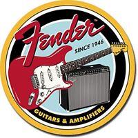 Fender Guitars & Amps   300mm round metal sign  (de)