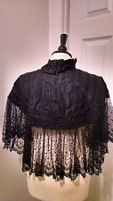 Amazing c. 1890s Antique Victorian Mourning Cape - Silk, Soutache and Lace