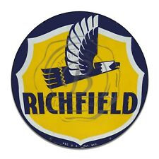 Richfield Gas and Oil Products Flying Bird Reproduction Circle Aluminum Sign