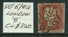GREAT BRITAIN 1841 - 1d 'RED' Imperf with 'London 8' Postmark Cv $320 [5456]