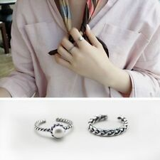 Ring Twisted Pattern Braided Inlaid White Pearl Ring Set Punk Infinity Design