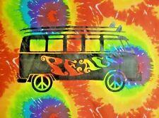 """Peace Bus Van - Tie Dye Tapestry 40"""" x 45"""" Trippy Wall hanging VW Bus Volkswagen"""