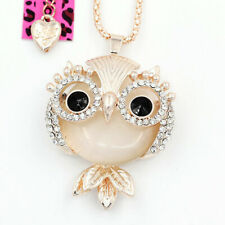 BETSEY JOHNSON'S OPAL STYLE WISE OWL NECKLACE/PENDANT GOLD PLATED SHELL PINK