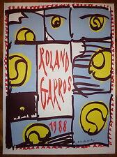 Alechinsky Pierre affiche originale 88 art abstrait Roland Garros Tennis cobra