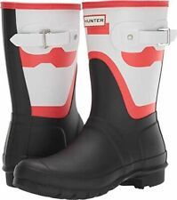 HUNTER New Women's Size 11 Red White Black Short Shadow Print Boots NWOB