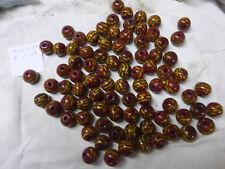 perle vintage, lot de 85 perle en verre ronde marron brique à tirets jaune 17mm