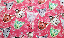 Watercolor Tiger Stripe Kitty Cat Heads Paw Prints on Pink Cotton Fabric  BTY
