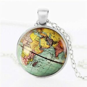 World Globe Earth Necklace Glass Cabochon Pendant Silver Necklace
