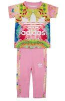Adidas Niñas Bebé Plumas Set 2 piezas Leggings AJ0023 Rosa / multi 6-9m Up