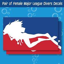 "Set of 2 3""x5"" Female Major League Diver scuba decal sticker vinyl tank toolbox"