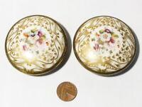 19thC Pair Porcelain Topped Brass Curtain Tie Backs Roundel Mounts 6.5cm   #4531