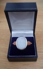 Large Sterling Silver Oval White Druzy and Pink Gemstone Ring Size N