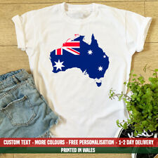 Ladies Australia Flag Map T Shirt Funny Australian Holiday Emigrate Day Gift Top