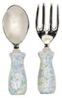 Servierbesteck Salatbesteck 2 tlg Holz Aluminium les Fleurs blau Vintage Shabby