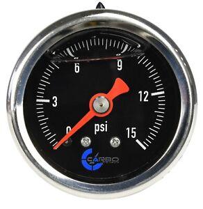 "CARBO Gauge 0-15 psi Fuel Pressure Oil Pressure 1.5"" Liquid Filled, Black Dial"