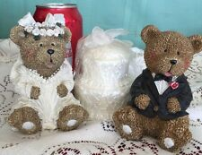 Teddy Bear Wedding Cake Topper Figurines Resin Bride Groom with Cake Candle