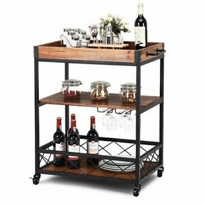 Kitchen Dining Cart Trolley Server Fir Wood Iron Wheels Wine Rack Removable Tray