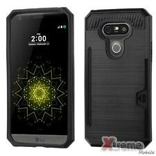 XM-For LG G5 Brushed Metal Texture Black Wallet/Card Case Cover