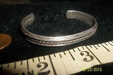 Stamped Cuff Bracelet 19.4 g Native American Sterling Silver Twist Wire