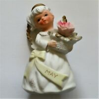 Vintage Lefton May Birthday Girl Angel With Gold Halo & Wings #3332 figurine