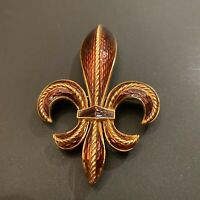 "Vintage Crown Trifari 3"" Fleur De Lis Gold Tone Brown/Amber Enamel Pin Brooch"