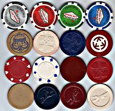 16 Vintage Clay Poker Chips: All Different
