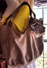 Beige Tan Linen & Leather Large Handbag