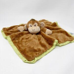 Aurora Baby Monkey Lovey Security Blanket Green Brown Polka Dot Smiling