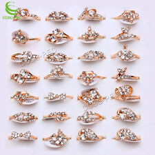 30pcs Wholesale Lots Jewelry Women Fashion Clear Rhinestones Gold Rings