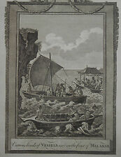 1793 Malabar Coast India, various types of vessels ships, antique engraving