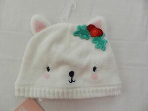 New Gymboree Size 6 12 M Christmas Holiday Beanie White Bear Cat Holly