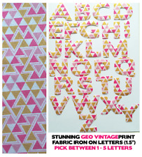 "Iron On Letters Fabric - Geometric Vintage - 1.5"" Cotton 1-5 Letters for £3!!"