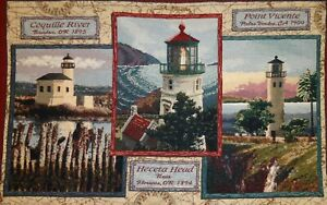 """Goodwin Weavers Pacific Lighthouses Nautical Tapestry Throw Cotton 46"""" X 67"""" NEW"""