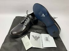 EMPORIO ARMANI Men's Classic Derby X4C182 Leather Lace-up Brown Dress Shoes, 6.5