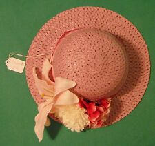 """11"""" Lavender Woven Hat with Pink Ribbon & 3 Large Flowers for Child FSGHGM05"""