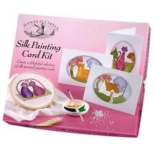 SILK PAINTING CARD KIT HOUSE OF CRAFTS GIFT SET FABRIC PAINT GOLD GUTTA OUTLINER